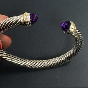DY Sterling Silver 7 mm Cable Bracelet Amethyst